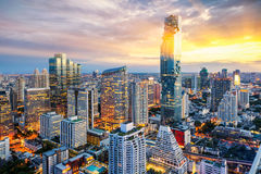 Città di Bangkok al tramonto Immagine Stock