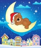Città di Natale con l'orso di sonno Immagini Stock Libere da Diritti