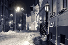 Città di notte in inverno Immagine Stock Libera da Diritti