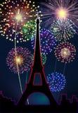 Citt? di Parigi dell'buon anno dei fuochi d'artificio Fotografie Stock