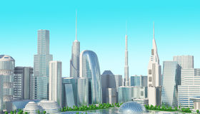 Città futuristica di Sci fi Fotografie Stock Libere da Diritti