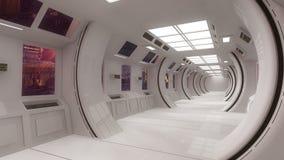 Città futuristica di scifi e dell'interno Fotografie Stock Libere da Diritti