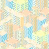 Città nella vista isometrica Modello senza cuciture con il rea variopinto leggero Fotografia Stock