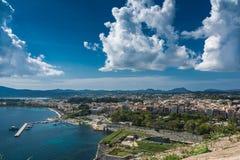Città nella vista panoramica, Grecia di Corfù Immagine Stock