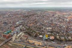 Citt? olandese dell'orizzonte di vista aerea di Goningen immagine stock