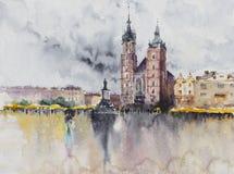 Citt? polacca Cracovia a pioggia watercolors illustrazione di stock