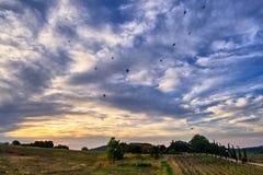 Citta della Pieve, Perugia, himlen på aftonen fotografering för bildbyråer