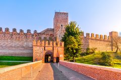 Cittadella city entrance, tower and surrounding walls. Padua, It. Cittadella city entrance, tower and surrounding medieval walls. Padua, Veneto Italy Europe Stock Images
