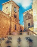 Citadella Gozo. One of the clock towers that can be found in the old city `Citadella` , overlooking Cathedral square royalty free stock photography