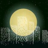 Citty en luz de luna Foto de archivo libre de regalías