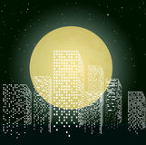 Citty in moon light Royalty Free Stock Photo