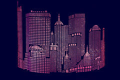 City ​​abstract gloving. Illustration of night city on a dark background stock images