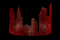 City ​​abstract gloving. Illustration of night city on a dark background Royalty Free Stock Photography