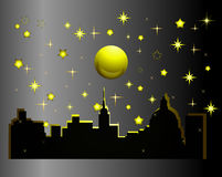 City at night. City at night with the stars and moon Royalty Free Stock Image