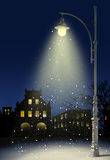 City at night. Snow falls in the city at night Stock Image