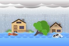 City flood,Rain and storm vector illustration