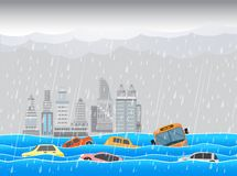 City ​​flood,Rain and storm vector illustration
