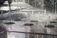 City ​​fountain. Fountain in the town square stock photo