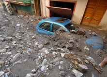 City ​​hit by a landslide and a. Flood Stock Image