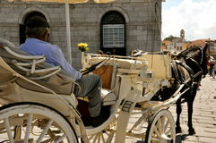 City ​​picture. A stroll in Chania in the carriage romantic urban scene Stock Image