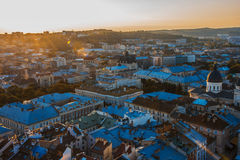 City ​​with a birds-eye view. At sunset, Lviv, Ukraine Stock Images
