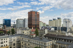 City Łódź in Poland. Panoramic photography , Lodz , town in Poland . Europe.View from the top royalty free stock image