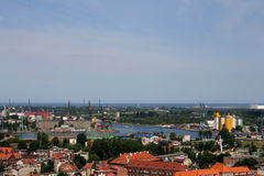 City ​​infrastructure. Panorama of the northern Polish - Gdańsk stock photography