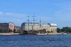 City ​​quay. Сity ​​quay, building old, The Neva River Stock Photography