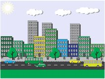 City views on a sunny day. With clouds and people and passing cars vector illustration