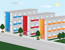 City. Vector image of the city streets. The residential quarter Stock Images