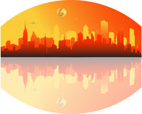 City. Vector illustration of sunset in the big city Royalty Free Stock Photo