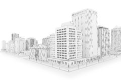 The City. Illustration of a fictional city in a 'blueprint' outline style Stock Photos