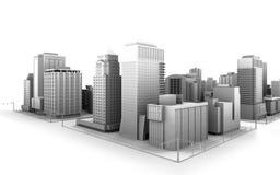The City. Illustration of a fictional city scene