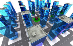 City. Townscape from height. Computer graphics. Building, house Stock Image