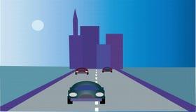 City. Vectorial image of city, road, houses, auto, horizon royalty free illustration