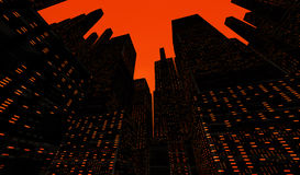 The City. City scape at dusk or dawn looking up at buildings stock illustration