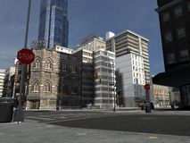 The City. 3d render of an big city Royalty Free Stock Images