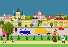 City. Street with houses and park stock illustration