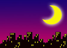 City. An illustration of city buildings at night with large glowing moon Royalty Free Stock Photo