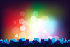 City. Panorama With Bokeh, Vector Illustration Royalty Free Stock Photo