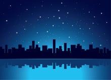 City. Beautiful city at night vector illustration Stock Image