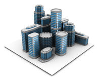 City. 3d illustration of city block, over white background royalty free illustration
