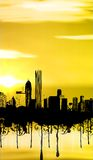 City. With sunset and grunge Vector Illustration
