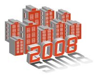 City of 2008. City and building with year 2008 3D illustration vector Royalty Free Stock Image