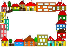 City. The city is full of colorful houses Stock Photography