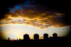 City. Evening landscape at the setting sun Royalty Free Stock Photos