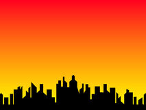 City. Illustration of city in the evening Stock Images
