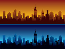 City. Skyline of modern city - dusk and night