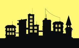 City. Silhouette of city on yellow background Royalty Free Stock Image