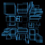 City 3D rendered xray blue Royalty Free Stock Image